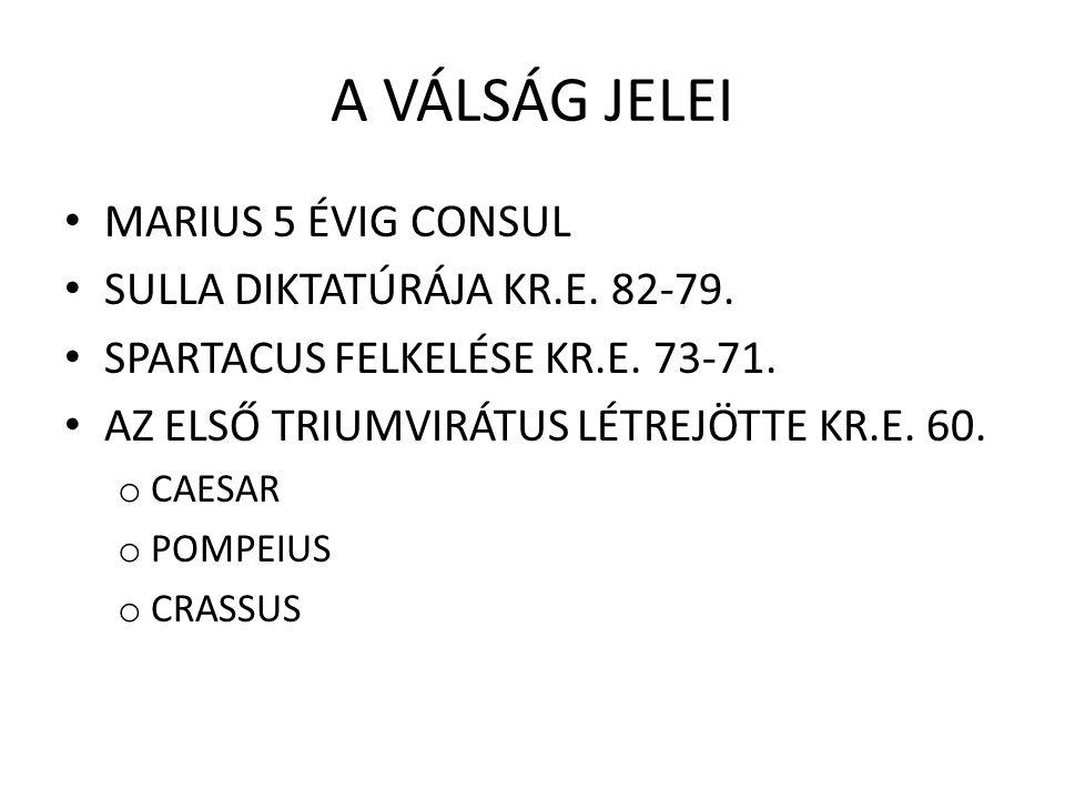 CAESAR TISZTSÉGEI Questor (i.e.70) – pénzügyi irányító Aedilis – Róma épületeinek ellenőrzői, gabona Pontifex maximus (magasrangú pap) Praetor (i.e.63) Hispánia kormányzója (i.e.61) Consul (i.e.59) Gallia kormányzója 5 évre (gall háborúk) Dictator (élethosszig – 11 nap múlva lemond) Consul (megint 3 alkalommmal) Imperátor (haláláig)