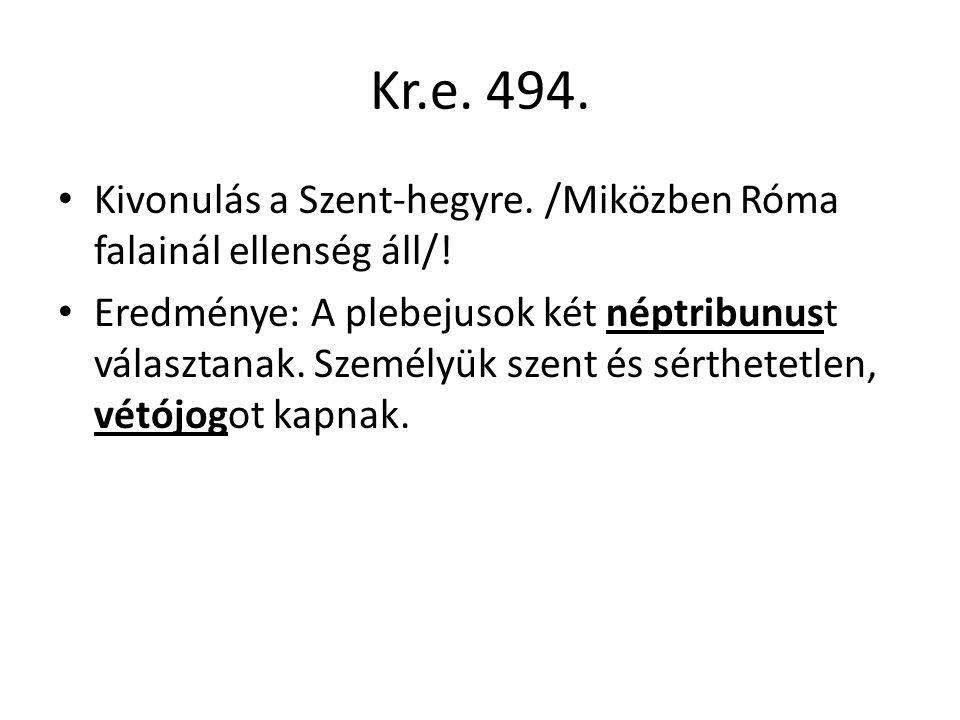 Kr.e 451-450.A törvényeket írásba foglalják. 12 bronztáblára vésik ( 12 táblás törvények).