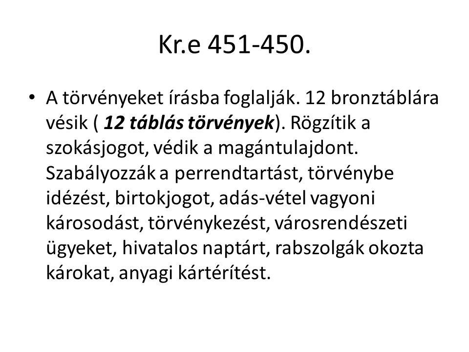 Kr.e 451-450. A törvényeket írásba foglalják. 12 bronztáblára vésik ( 12 táblás törvények). Rögzítik a szokásjogot, védik a magántulajdont. Szabályozz