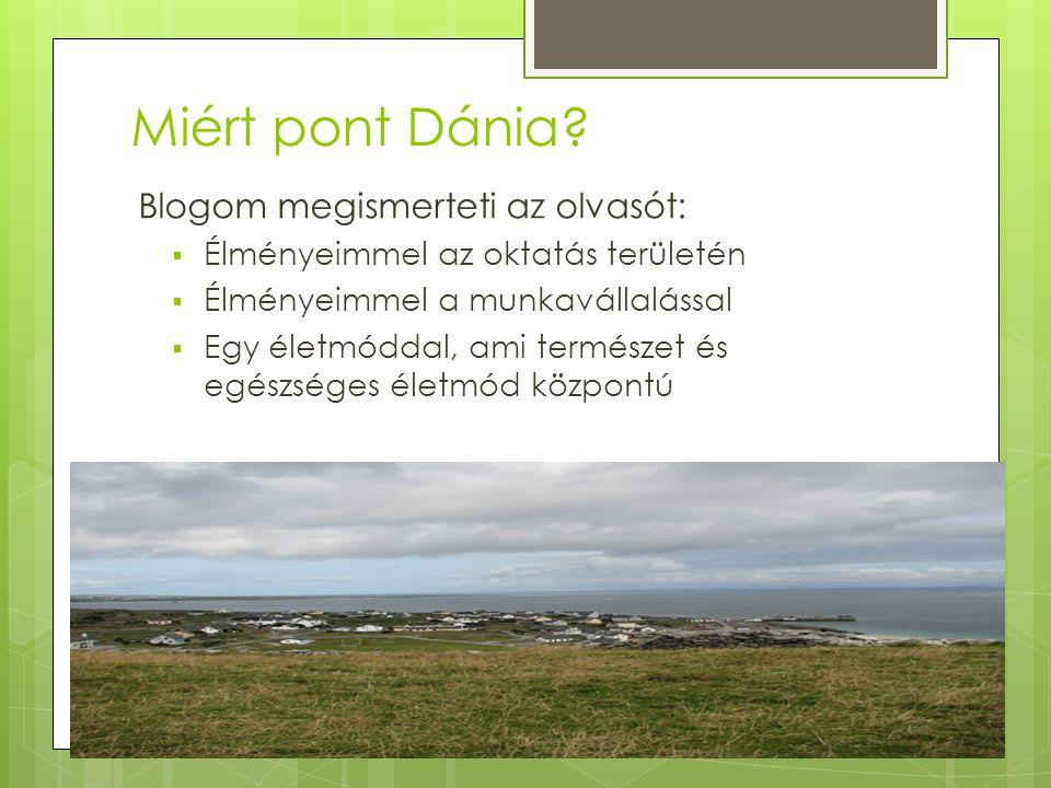 Miért pont Dánia? Blogom megismerteti az olvasót:  Élményeimmel az oktatás területén  Élményeimmel a munkavállalással  Egy életmóddal, ami természe