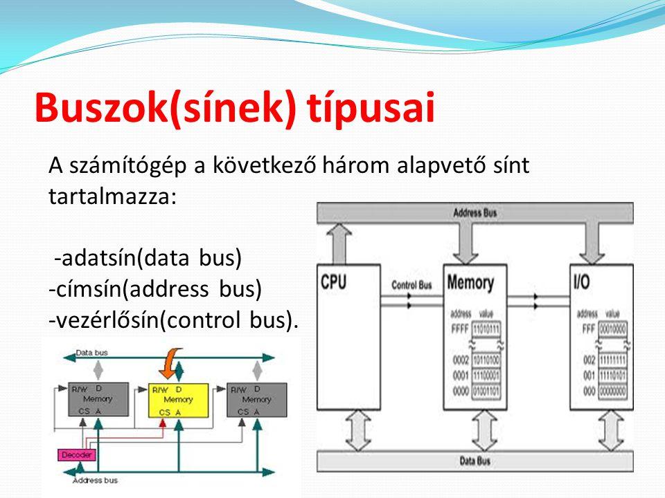 Buszok(sínek) típusai A számítógép a következő három alapvető sínt tartalmazza: -adatsín(data bus) -címsín(address bus) -vezérlősín(control bus).