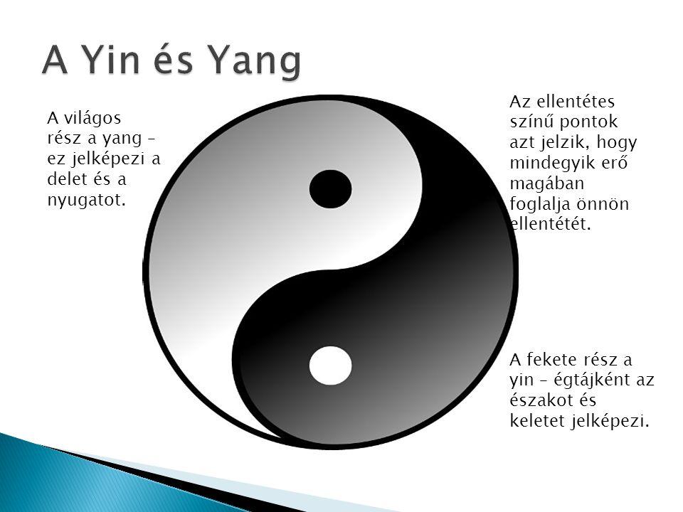 A világos rész a yang – ez jelképezi a delet és a nyugatot. A fekete rész a yin – égtájként az északot és keletet jelképezi. Az ellentétes színű ponto