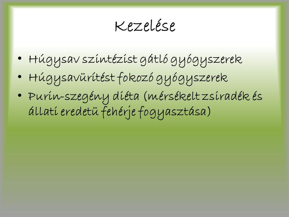 Kezelése Húgysav szintézist gátló gyógyszerek Húgysavürítést fokozó gyógyszerek Purin-szegény diéta (mérsékelt zsiradék és állati eredetü fehérje fogy
