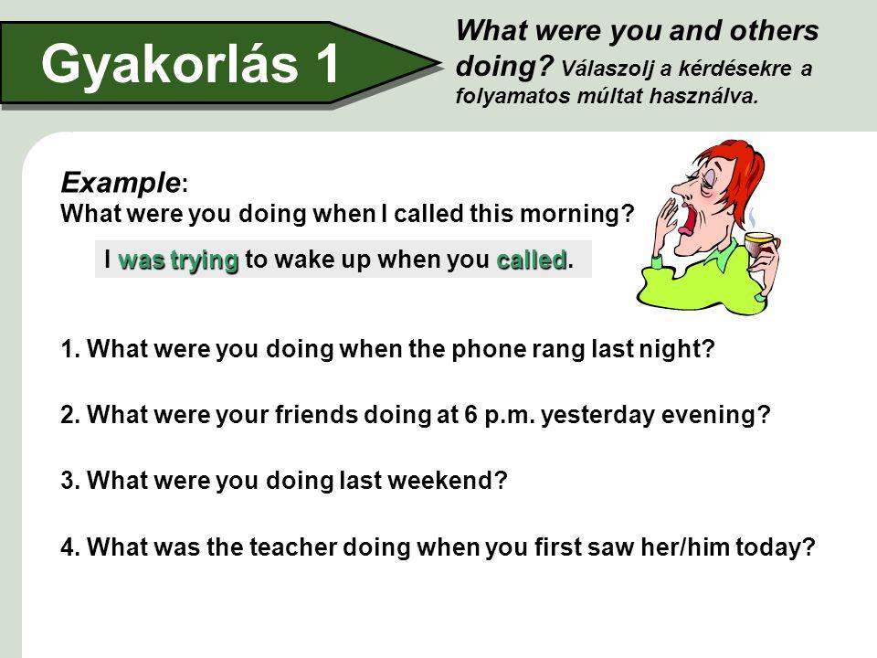 What were you and others doing.Válaszolj a kérdésekre a folyamatos múltat használva.