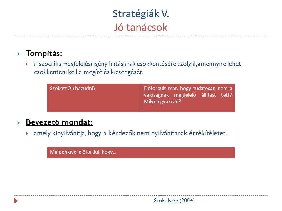 Stratégiák V. Jó tanácsok  Tompítás:  a szociális megfelelési igény hatásának csökkentésére szolgál, amennyire lehet csökkenteni kell a megítélés ki