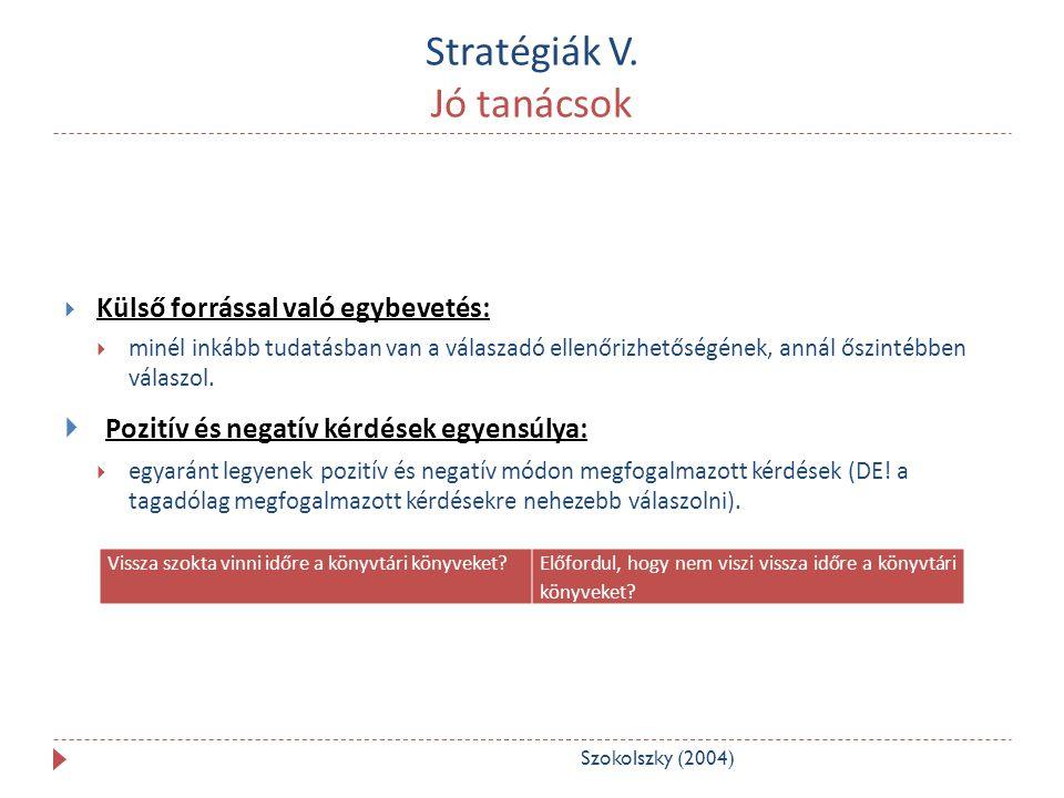 Stratégiák V. Jó tanácsok  Külső forrással való egybevetés:  minél inkább tudatásban van a válaszadó ellenőrizhetőségének, annál őszintébben válaszo
