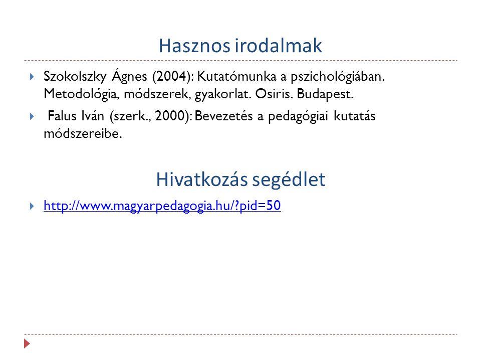 Hasznos irodalmak  Szokolszky Ágnes (2004): Kutatómunka a pszichológiában. Metodológia, módszerek, gyakorlat. Osiris. Budapest.  Falus Iván (szerk.,