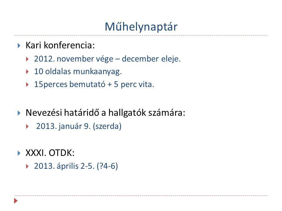 Műhelynaptár  Kari konferencia:  2012. november vége – december eleje.  10 oldalas munkaanyag.  15perces bemutató + 5 perc vita.  Nevezési határi