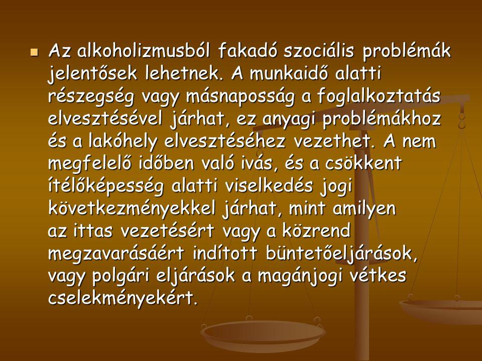 Az alkoholizmusból fakadó szociális problémák jelentősek lehetnek. A munkaidő alatti részegség vagy másnaposság a foglalkoztatás elvesztésével járhat,