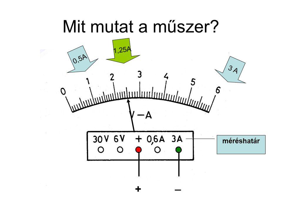 Mit mutat a műszer? 0,5A 3 A méréshatár + _ 1,25A