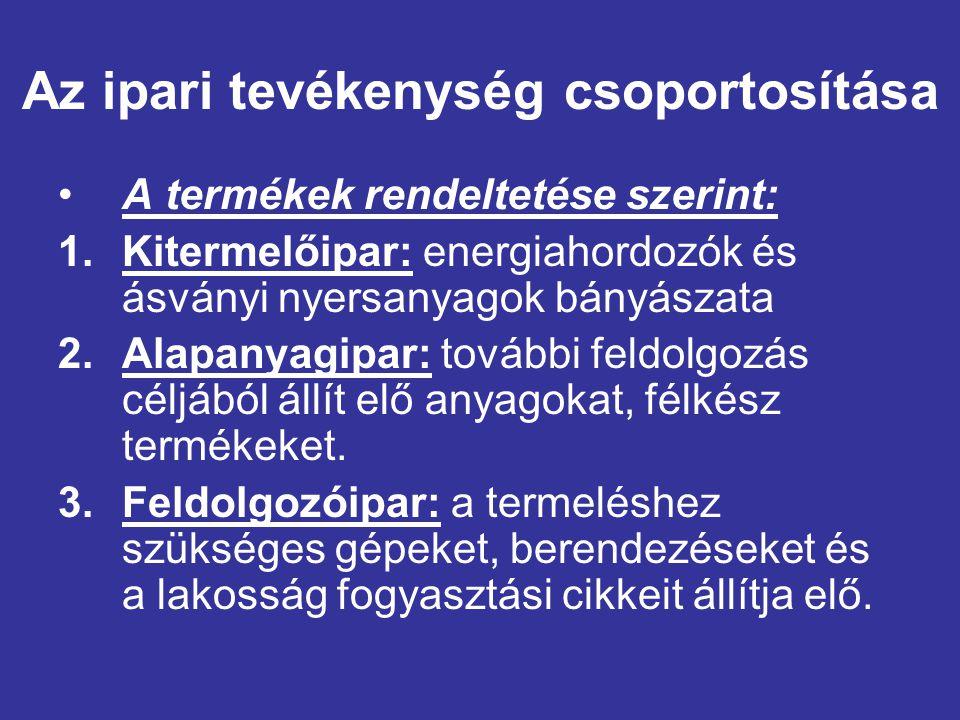 Az ipari tevékenység csoportosítása A termékek rendeltetése szerint: 1.Kitermelőipar: energiahordozók és ásványi nyersanyagok bányászata 2.Alapanyagip