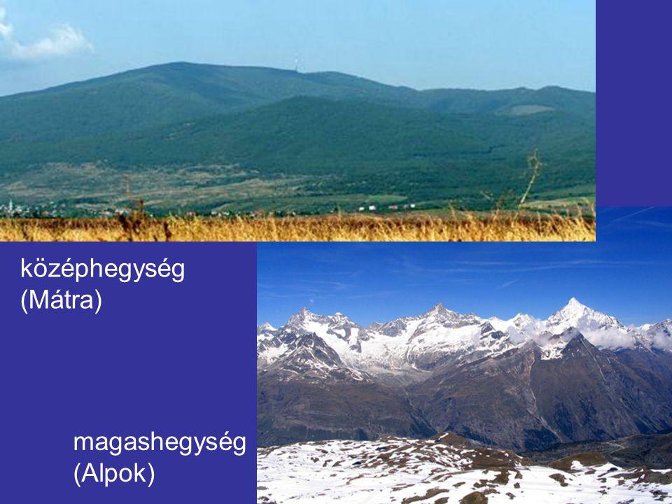 középhegység (Mátra) magashegység (Alpok)