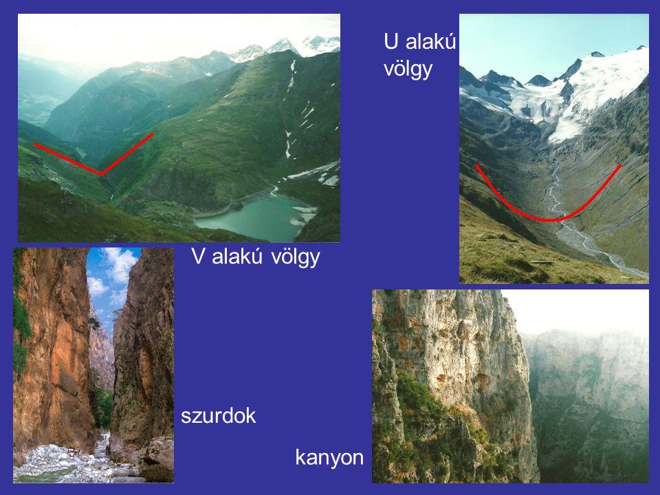 szurdok kanyon V alakú völgy U alakú völgy