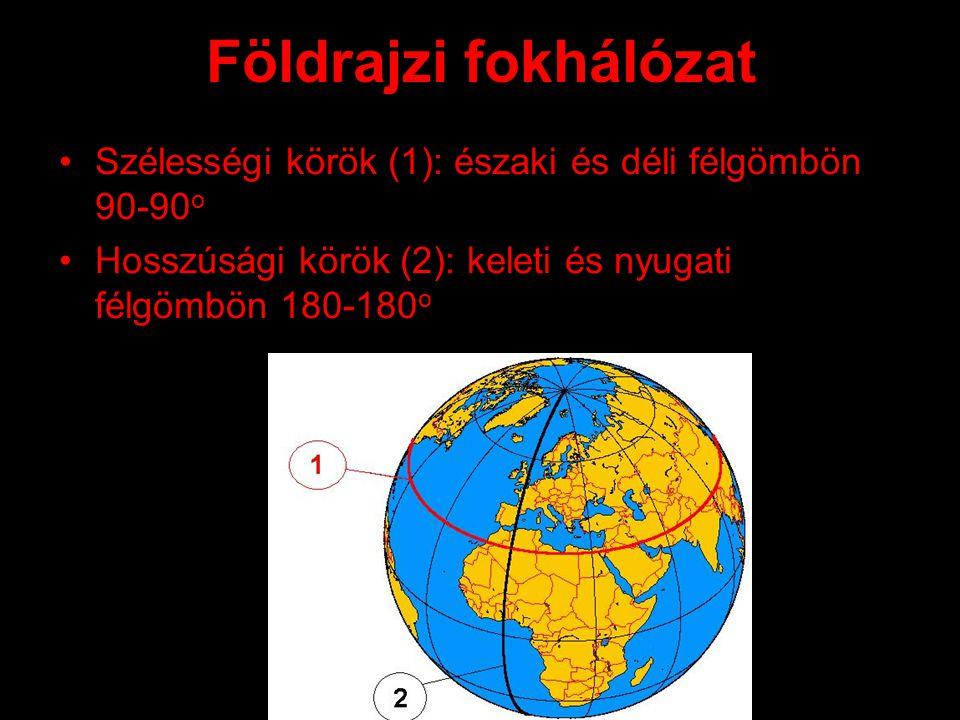 Földrajzi fokhálózat Szélességi körök (1): északi és déli félgömbön 90-90 o Hosszúsági körök (2): keleti és nyugati félgömbön 180-180 o