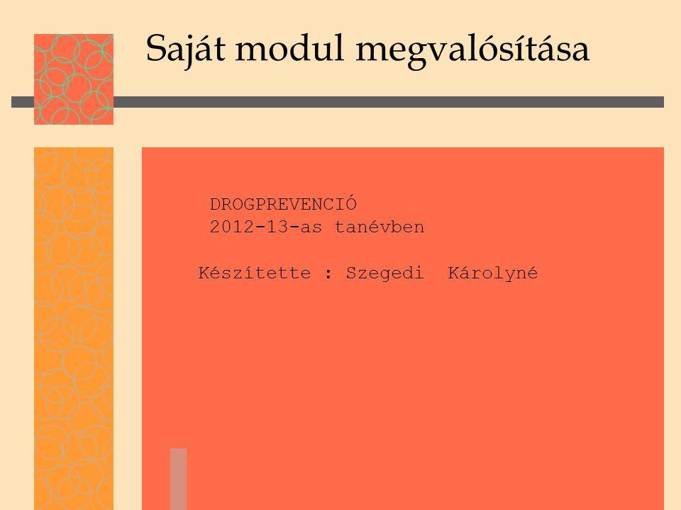 Saját modul megvalósítása DROGPREVENCIÓ 2012-13-as tanévben Készítette : Szegedi Károlyné