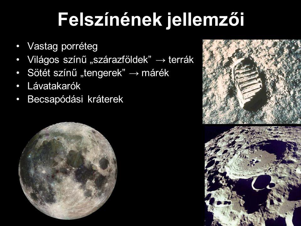 """Felszínének jellemzői Vastag porréteg Világos színű """"szárazföldek"""" → terrák Sötét színű """"tengerek"""" → márék Lávatakarók Becsapódási kráterek"""