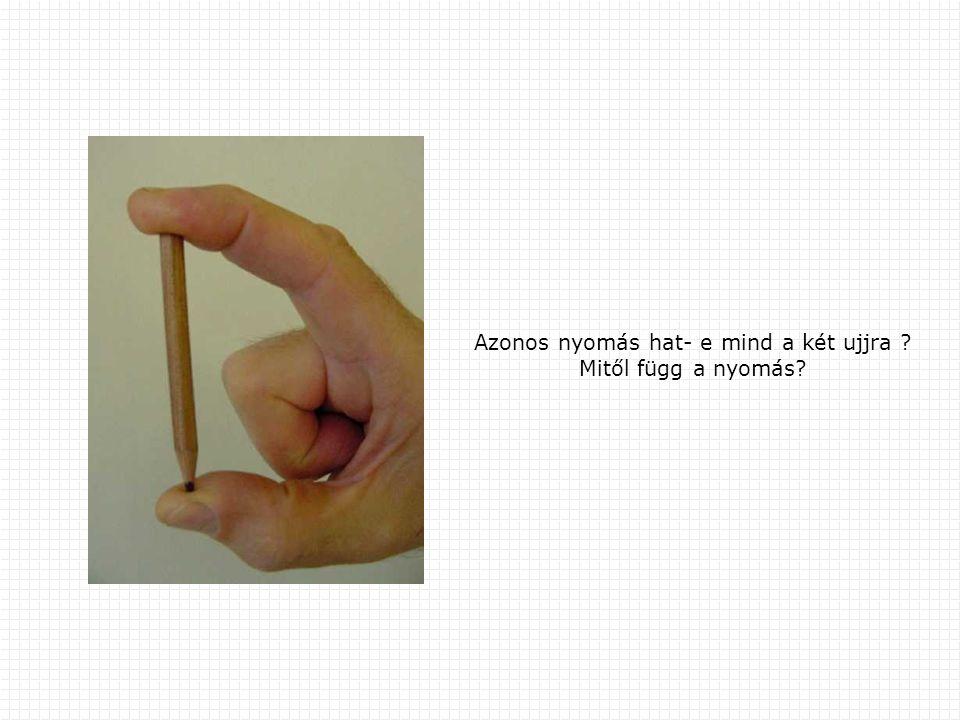 Azonos nyomás hat- e mind a két ujjra ? Mitől függ a nyomás?