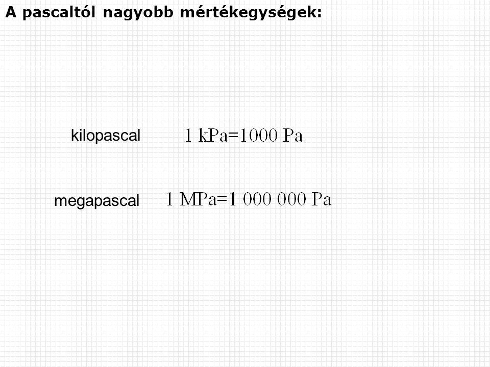 A pascaltól nagyobb mértékegységek: kilopascal megapascal