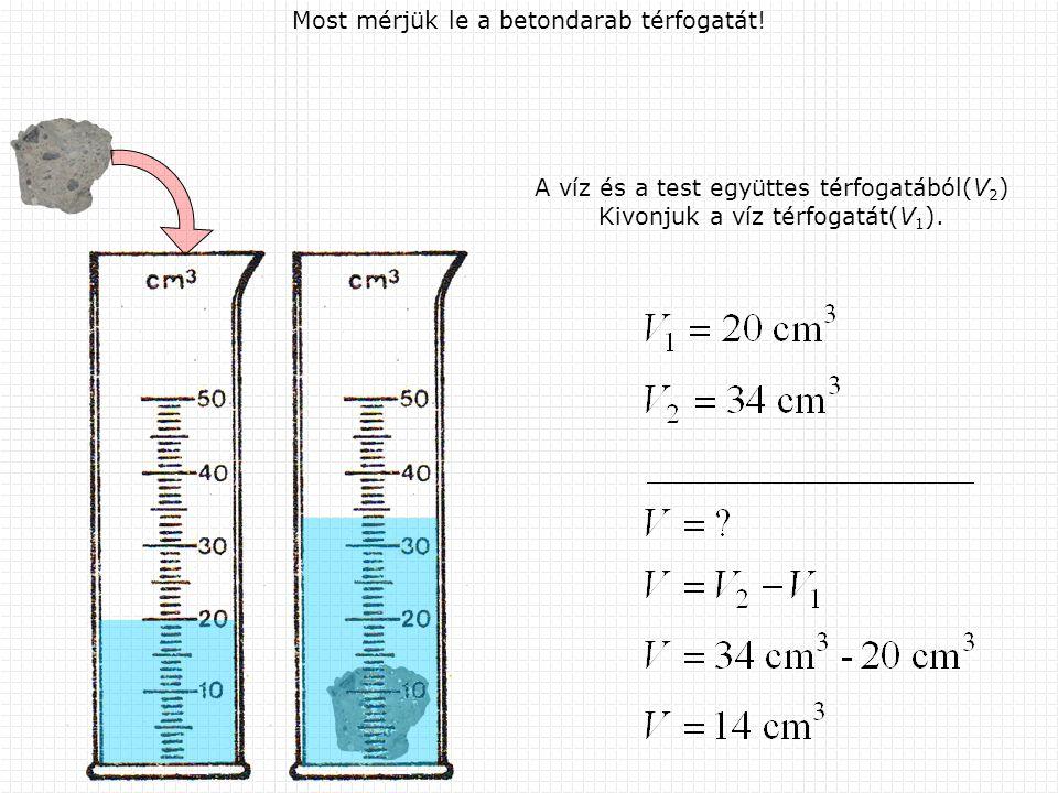 Most mérjük le a betondarab térfogatát! A víz és a test együttes térfogatából(V 2 ) Kivonjuk a víz térfogatát(V 1 ).