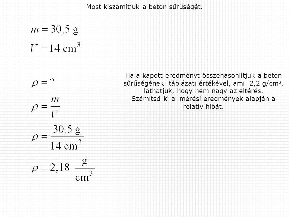 Most kiszámítjuk a beton sűrűségét. Ha a kapott eredményt összehasonlítjuk a beton sűrűségének táblázati értékével, ami 2,2 g/cm 3, láthatjuk, hogy ne