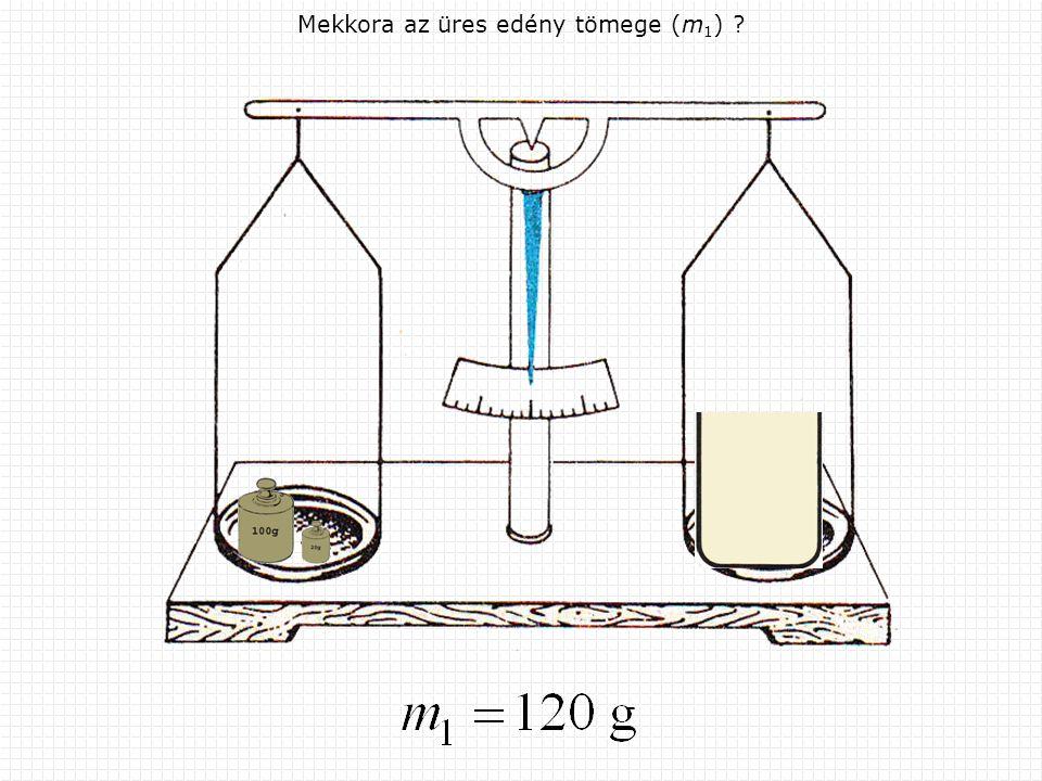 Mekkora az edény és a folyadék össztömege (m 2 )?
