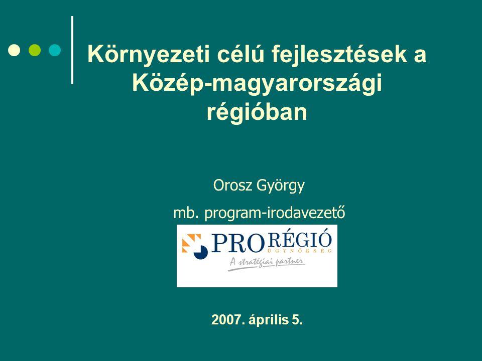 Környezeti célú fejlesztések a Közép-magyarországi régióban 2007.