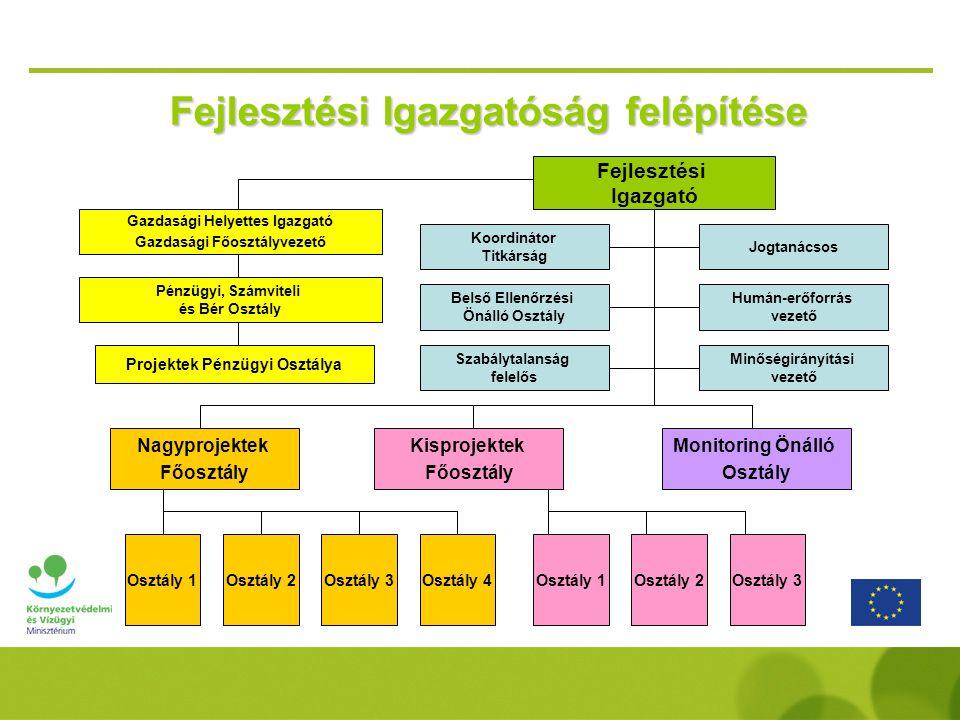  Éves jelentés készítése az OP végrehajtásáról  Az OP végrehajtása során kapcsolattartás az Európai Bizottság illetékes főigazgatóságával  Javaslattétel a kormány felé a kiemelt projektek azonosítására  A pályázati kiírások és támogatási szerződésminták jóváhagyása  Projekt kiválasztást előkészítő Bíráló Bizottságok felállítása  A KSz-tel szerződés kötése az OP végrehajtása tekintetében  A KSz számára teljesítményalapú finanszírozás biztosítása Irányító Hatóság - Nemzeti Fejlesztési Ügynökség -