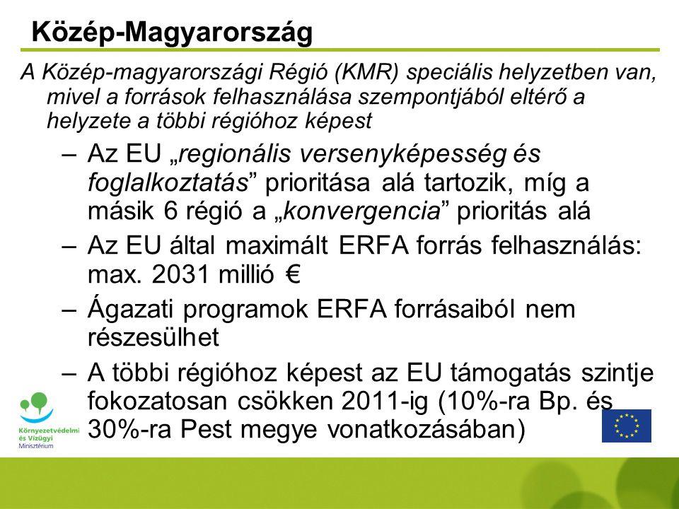 """A Közép-magyarországi Régió (KMR) speciális helyzetben van, mivel a források felhasználása szempontjából eltérő a helyzete a többi régióhoz képest –Az EU """"regionális versenyképesség és foglalkoztatás prioritása alá tartozik, míg a másik 6 régió a """"konvergencia prioritás alá –Az EU által maximált ERFA forrás felhasználás: max."""