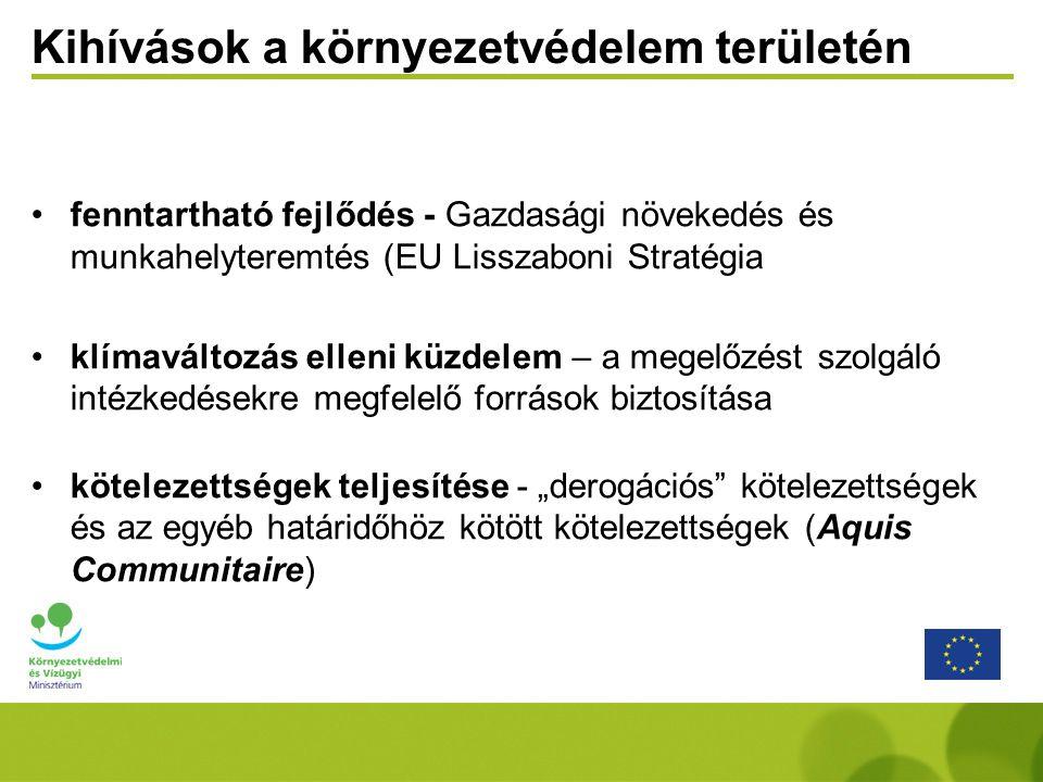 """Kihívások a környezetvédelem területén fenntartható fejlődés - Gazdasági növekedés és munkahelyteremtés (EU Lisszaboni Stratégia klímaváltozás elleni küzdelem – a megelőzést szolgáló intézkedésekre megfelelő források biztosítása kötelezettségek teljesítése - """"derogációs kötelezettségek és az egyéb határidőhöz kötött kötelezettségek (Aquis Communitaire)"""