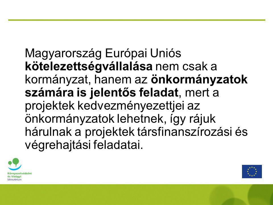 Magyarország Európai Uniós kötelezettségvállalása nem csak a kormányzat, hanem az önkormányzatok számára is jelentős feladat, mert a projektek kedvezményezettjei az önkormányzatok lehetnek, így rájuk hárulnak a projektek társfinanszírozási és végrehajtási feladatai.
