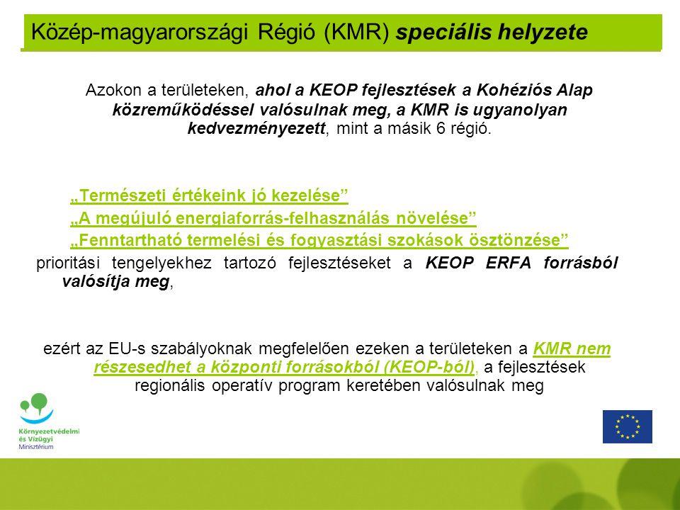 Azokon a területeken, ahol a KEOP fejlesztések a Kohéziós Alap közreműködéssel valósulnak meg, a KMR is ugyanolyan kedvezményezett, mint a másik 6 régió.