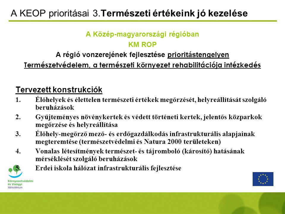 A KEOP prioritásai 3.Természeti értékeink jó kezelése A Közép-magyarországi régióban KM ROP A régió vonzerejének fejlesztése prioritástengelyen Természetvédelem, a természeti környezet rehabilitációja intézkedés Tervezett konstrukciók 1.Élőhelyek és élettelen természeti értékek megőrzését, helyreállítását szolgáló beruházások 2.Gyűjteményes növénykertek és védett történeti kertek, jelentős közparkok megőrzése és helyreállítása 3.Élőhely-megőrző mező- és erdőgazdálkodás infrastrukturális alapjainak megteremtése (természetvédelmi és Natura 2000 területeken) 4.Vonalas létesítmények természet- és tájromboló (károsító) hatásának mérséklését szolgáló beruházások 5.Erdei iskola hálózat infrastrukturális fejlesztése