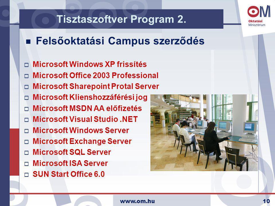 www.om.hu10 n FelsőoktatásiCampus szerződés Tisztaszoftver Program 2.  Microsoft Windows XP frissítés  Microsoft Office 2003 Professional  Microsof