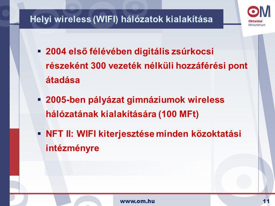 www.om.hu11 Helyi wireless (WIFI) hálózatok kialakítása  2004 első félévében digitális zsúrkocsi részeként 300 vezeték nélküli hozzáférési pont átadása  2005-ben pályázat gimnáziumok wireless hálózatának kialakítására (100 MFt)  NFT II: WIFI kiterjesztése minden közoktatási intézményre