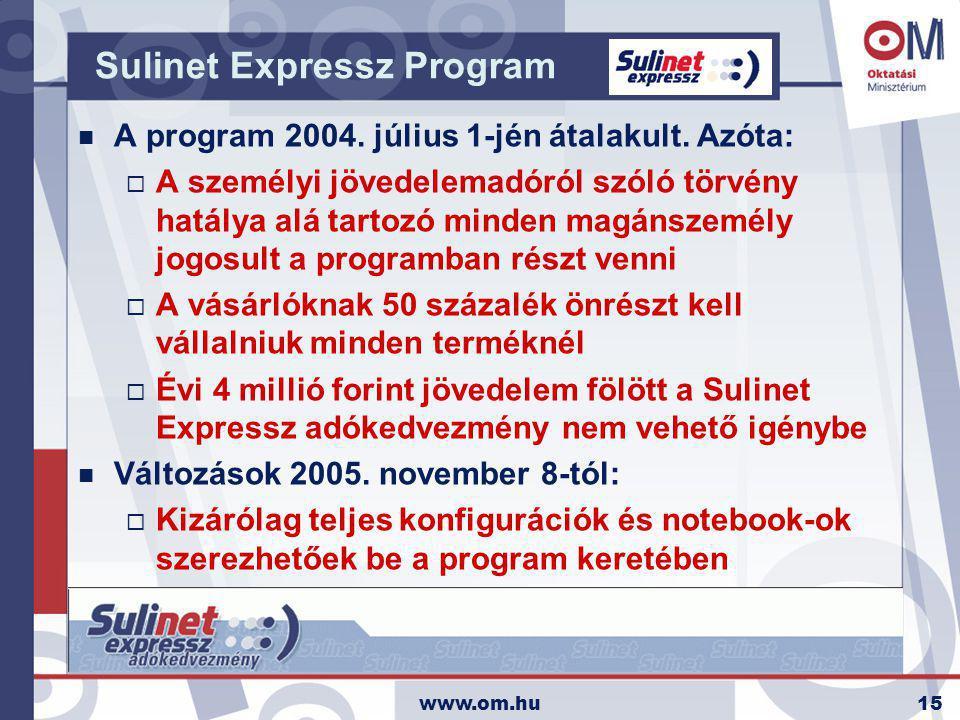 www.om.hu15 Sulinet Expressz Program n A program 2004. július 1-jén átalakult. Azóta:  A személyi jövedelemadóról szóló törvény hatálya alá tartozó m