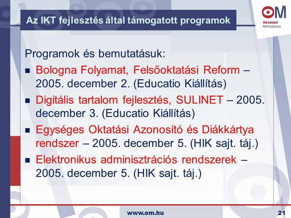 www.om.hu21 Az IKT fejlesztés által támogatott programok Programok és bemutatásuk: n Bologna Folyamat, Felsőoktatási Reform – 2005. december 2. (Educa