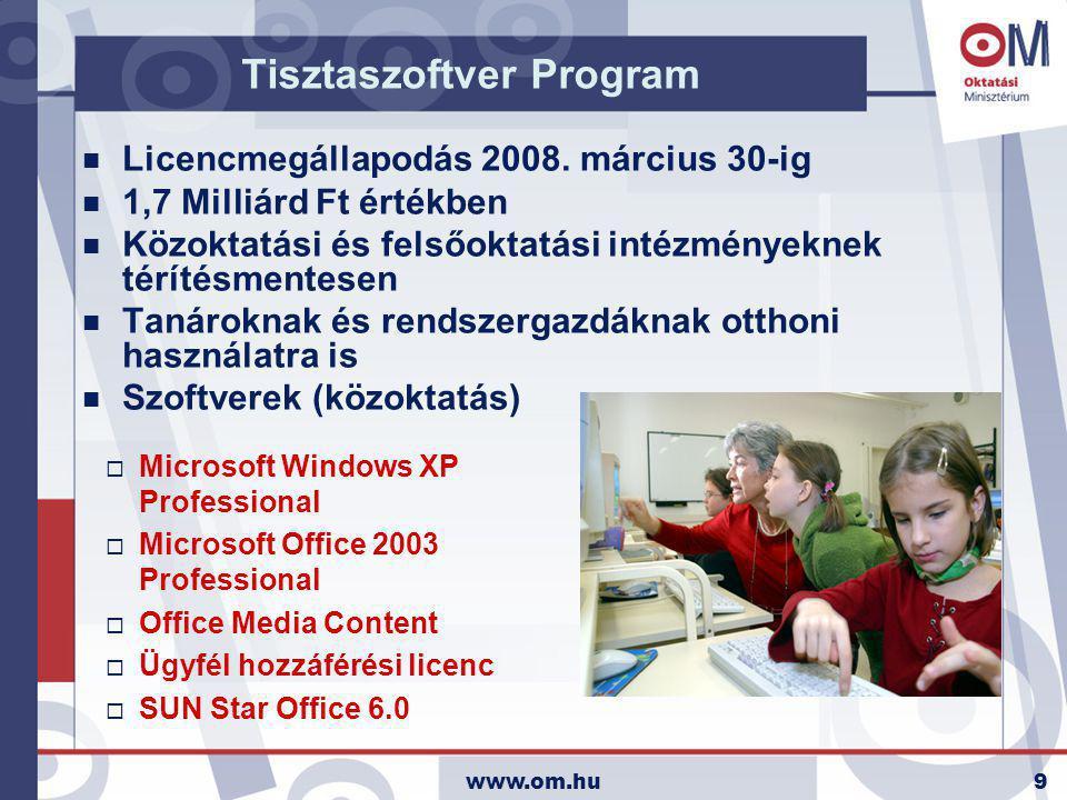 www.om.hu9 Tisztaszoftver Program n Licencmegállapodás 2008. március 30-ig n 1,7 Milliárd Ft értékben n Közoktatási és felsőoktatási intézményeknek té