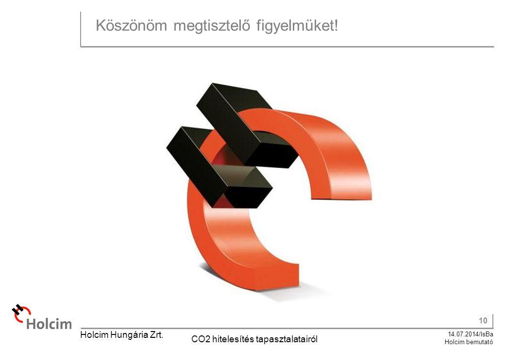 10 14.07.2014/IsBa Holcim bemutató Holcim Hungária Zrt. CO2 hitelesítés tapasztalatairól Köszönöm megtisztelő figyelmüket!
