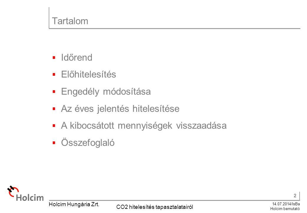 2 14.07.2014/IsBa Holcim bemutató Holcim Hungária Zrt. CO2 hitelesítés tapasztalatairól Tartalom  Időrend  Előhitelesítés  Engedély módosítása  Az