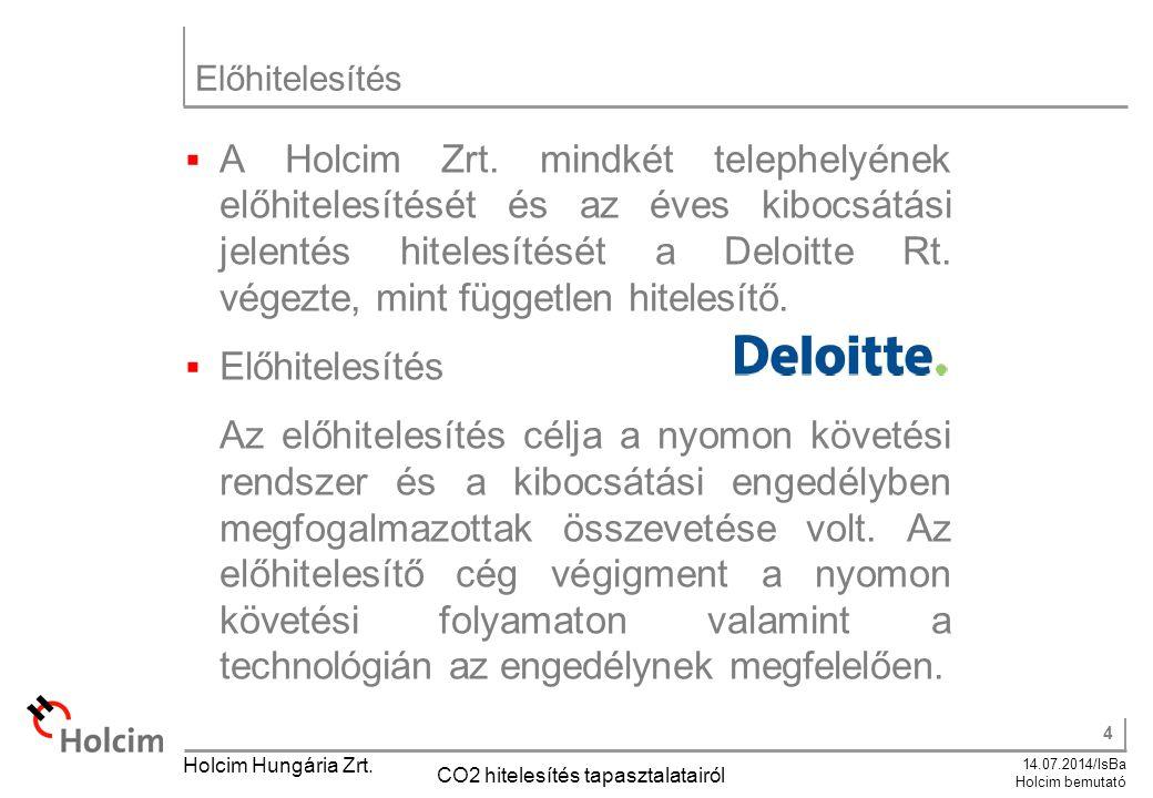 4 14.07.2014/IsBa Holcim bemutató Holcim Hungária Zrt. CO2 hitelesítés tapasztalatairól Előhitelesítés  A Holcim Zrt. mindkét telephelyének előhitele