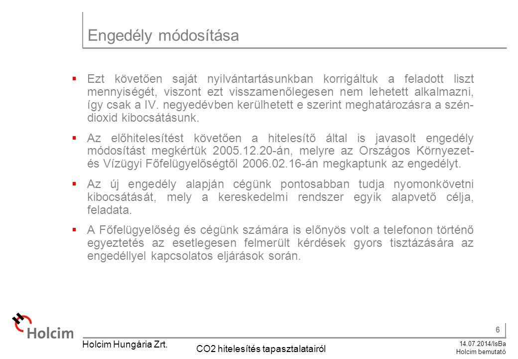 6 14.07.2014/IsBa Holcim bemutató Holcim Hungária Zrt. CO2 hitelesítés tapasztalatairól Engedély módosítása  Ezt követően saját nyilvántartásunkban k