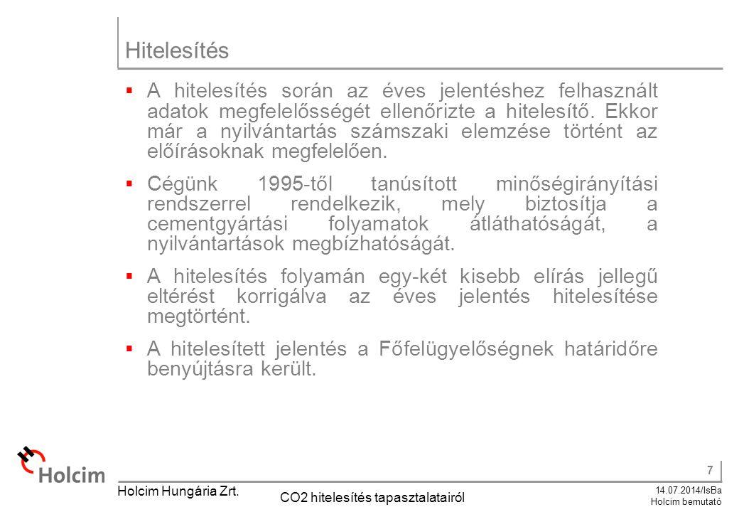 7 14.07.2014/IsBa Holcim bemutató Holcim Hungária Zrt. CO2 hitelesítés tapasztalatairól Hitelesítés  A hitelesítés során az éves jelentéshez felhaszn