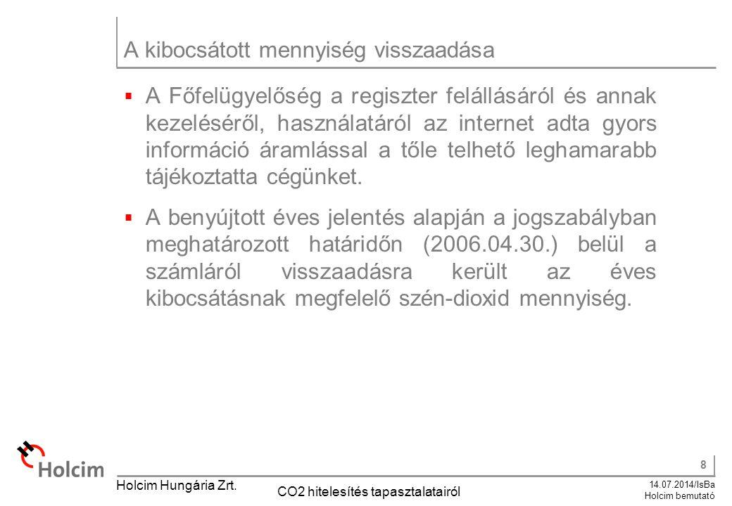 8 14.07.2014/IsBa Holcim bemutató Holcim Hungária Zrt. CO2 hitelesítés tapasztalatairól A kibocsátott mennyiség visszaadása  A Főfelügyelőség a regis