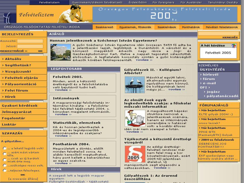 Az érettségi-felvételi információk elérési lehetőségei az érettségiért és a felvételiért felelős intézmények honlapjain Vizsgatárgyakkal kapcsolatosan nyilvánosságra hozott anyagok www.okev.hu Érettségi vizsgák/Kétszintű érettségi 2004/2005 Próbaérettségi www.okev.hu Érettségi vizsgák/Kétszintű próbaérettségi 2004/Próbaérettségi feladatlapok és javítási-értékelési útmutatók Korábban érettségizettek érettségi jelentkezése az OKÉV regionális igazgatóságaihoz www.okev.hu Tájékoztatás a felsőoktatási felvételi eljárásról (jelentkezés, hozott és szerzett pontok, többletpontok stb.) www.felvi.hu Szakmai előkészítő tárgyak www.nive.hu A kétszintű érettségire felkészítő képzések tanároknak www.sulinova.hu