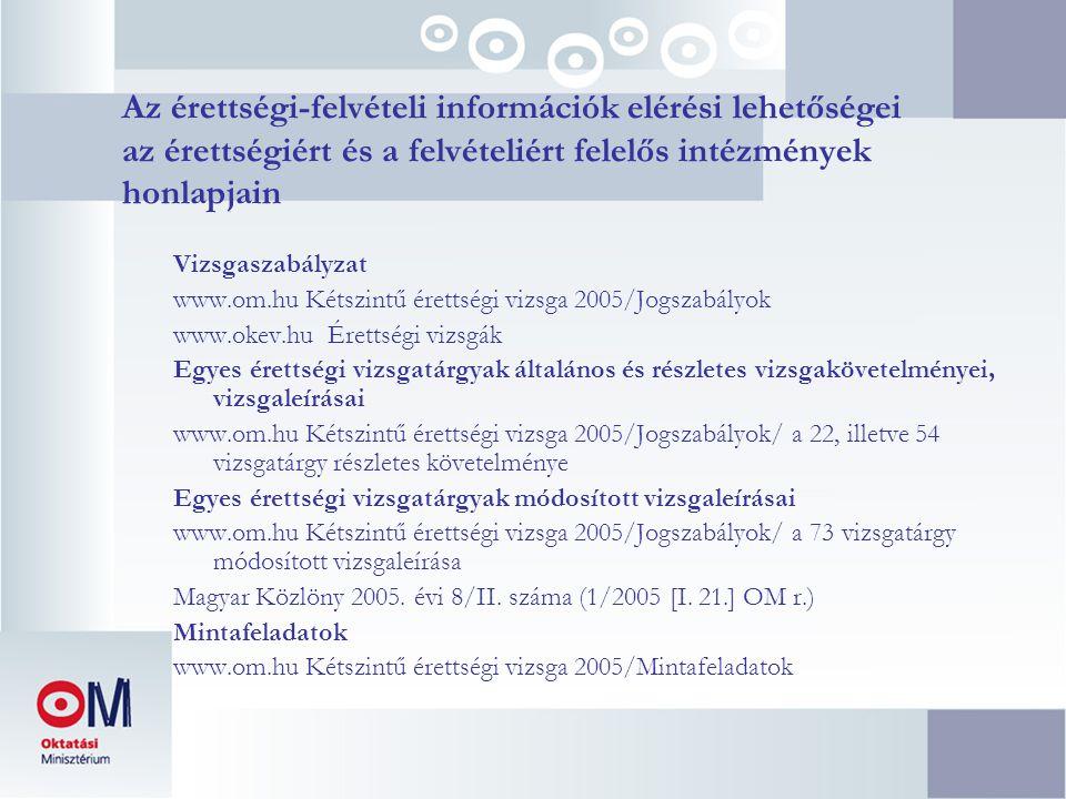 Az érettségi-felvételi információk elérési lehetőségei az érettségiért és a felvételiért felelős intézmények honlapjain Vizsgaszabályzat www.om.hu Kétszintű érettségi vizsga 2005/Jogszabályok www.okev.hu Érettségi vizsgák Egyes érettségi vizsgatárgyak általános és részletes vizsgakövetelményei, vizsgaleírásai www.om.hu Kétszintű érettségi vizsga 2005/Jogszabályok/ a 22, illetve 54 vizsgatárgy részletes követelménye Egyes érettségi vizsgatárgyak módosított vizsgaleírásai www.om.hu Kétszintű érettségi vizsga 2005/Jogszabályok/ a 73 vizsgatárgy módosított vizsgaleírása Magyar Közlöny 2005.