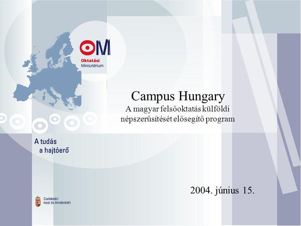 Campus Hungary A magyar felsőoktatás külföldi népszerűsítését elősegítő program 2004. június 15.
