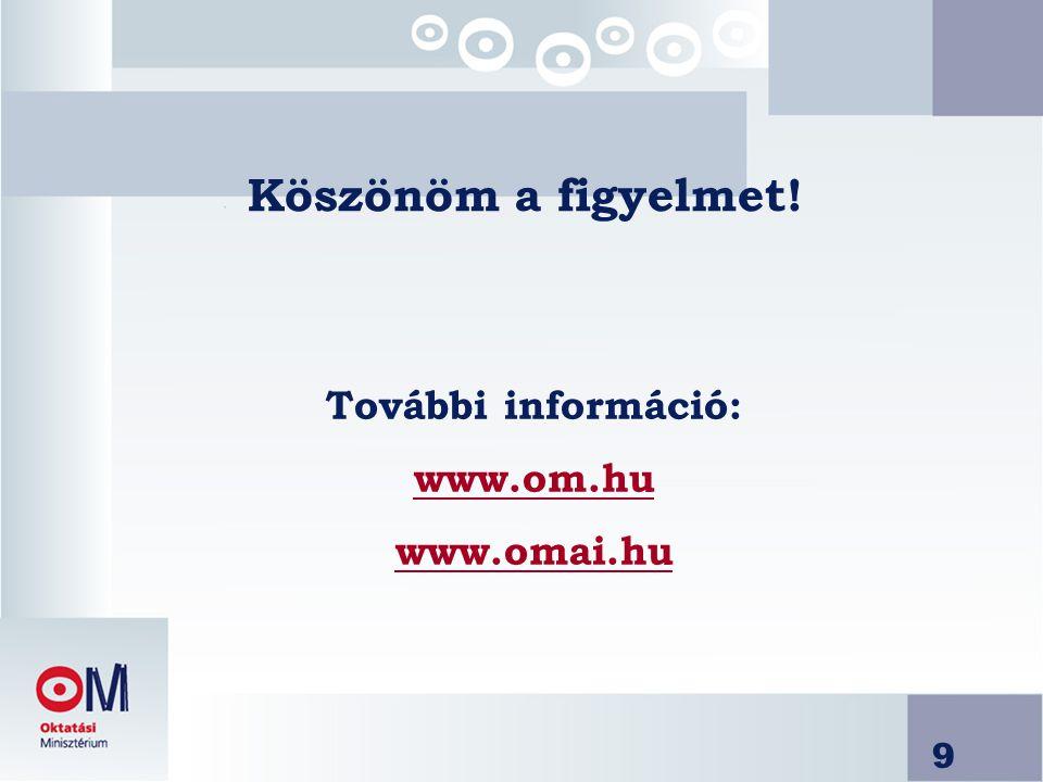 9 Köszönöm a figyelmet! További információ: www.om.hu www.omai.hu