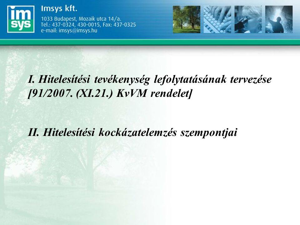 I. Hitelesítési tevékenység lefolytatásának tervezése [91/2007.