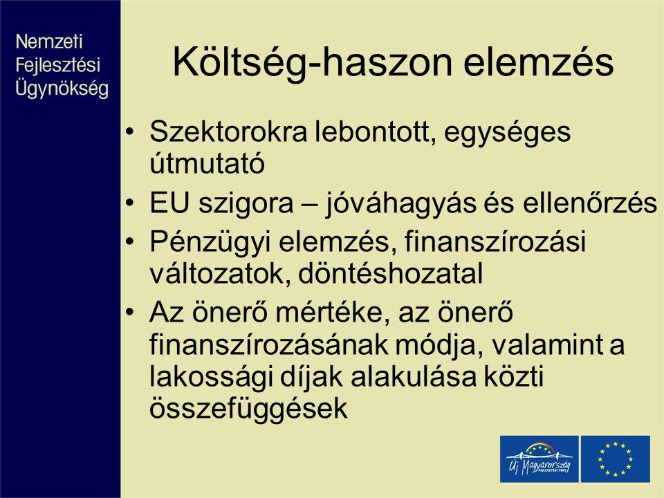 Költség-haszon elemzés Szektorokra lebontott, egységes útmutató EU szigora – jóváhagyás és ellenőrzés Pénzügyi elemzés, finanszírozási változatok, dön