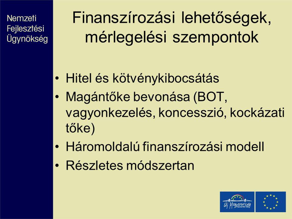 Finanszírozási lehetőségek, mérlegelési szempontok Hitel és kötvénykibocsátás Magántőke bevonása (BOT, vagyonkezelés, koncesszió, kockázati tőke) Háro